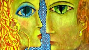 """Tomasz Perlicjan, """"Tango; Słońce i Księżyc"""", 2014, 120x80 cm, olej, płótno."""
